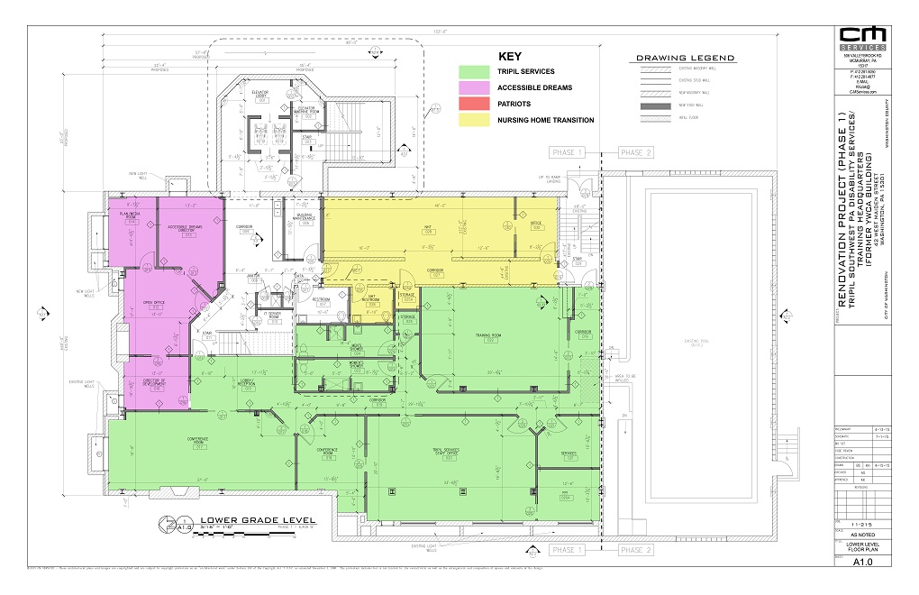 Architectural plan of the basement level of the YWCA building, Phase One.