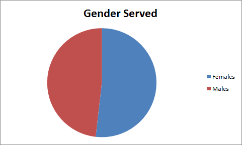 Bicolored pie chart, indicating that gender split between our consumers is essentially even, with women slightly more numerous.