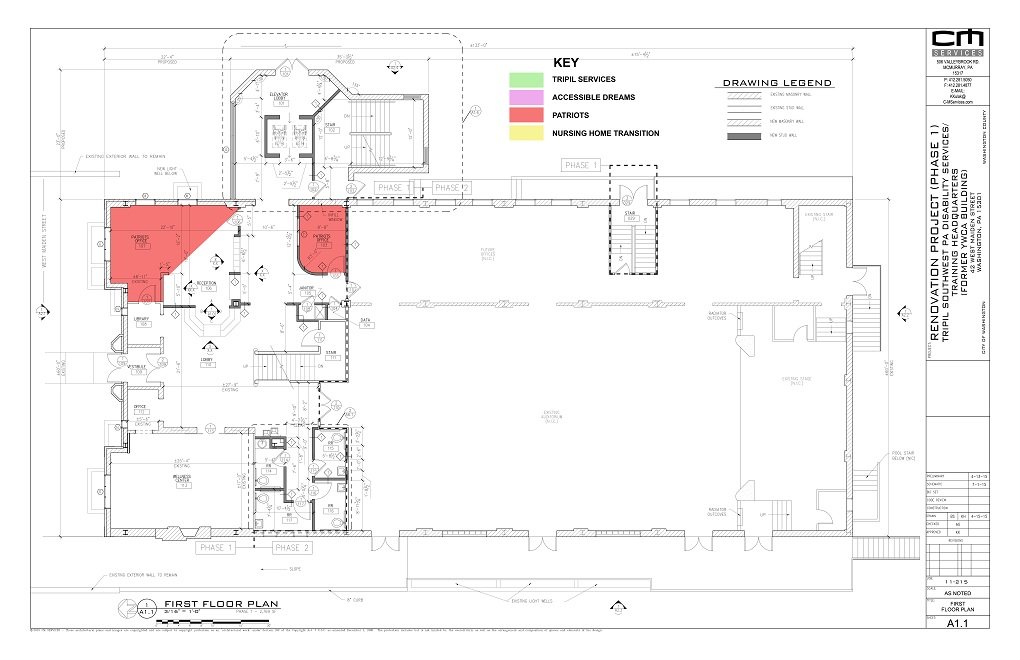 Architectural plan of the first floor of the YWCA building, Phase One.