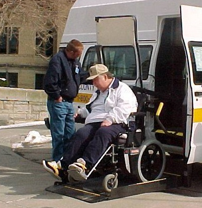 The late Russ Lauderbaugh, who was the 1st and the 1,000,000th rider on the Persons with Disabilities transportation program. This is Ride #1.