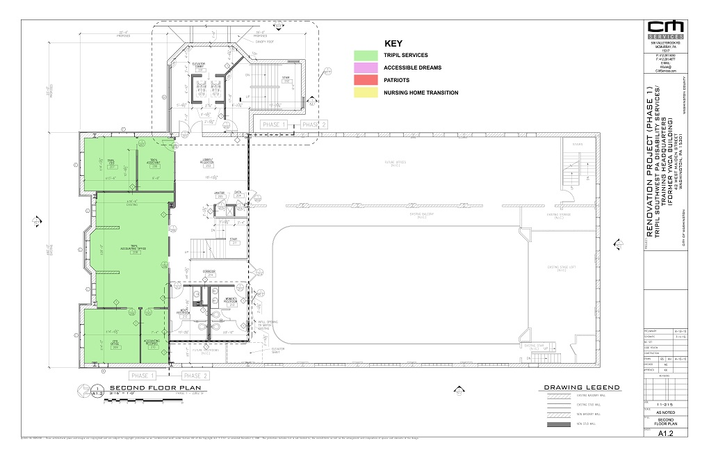 Architectural plan of the second floor of the YWCA building, Phase One.