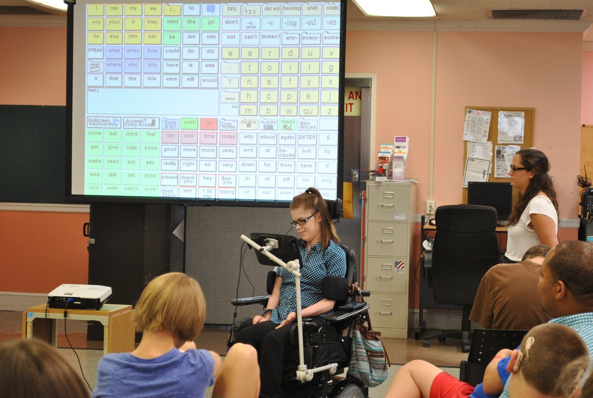 Youth with disabilities giving a presentation