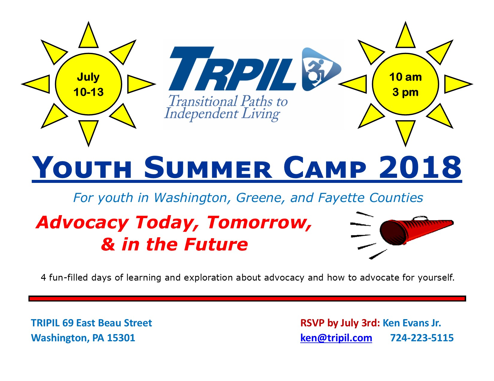 TRIPIL Youth Summer Camp 2018 Flier